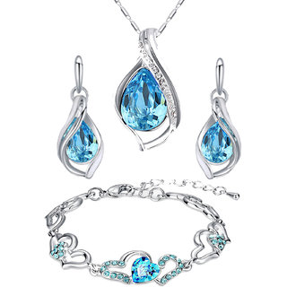 Oviya Combo of Lovely Blue Bracelet and Pendant set with Crystal Stones CO2104688R