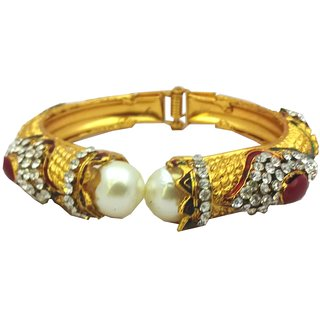 ethnic kada with maroon stones and big pearls