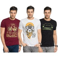 Zorchee Men's Multicolor Printed Round Neck T-Shirt (Pack of 3)