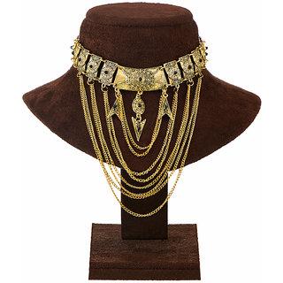JewelMaze Antique Gold Black Pota Stone Statement Necklace