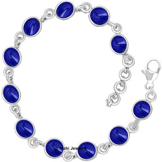 Mahi Rhodium Plated Shire Blue Eternal Love Bracelet With Crystal Stones Br1100295r