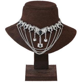JewelMaze Stone Rhodium Plated Statement Necklace