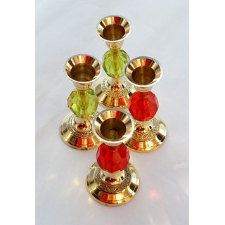 Brass Candle Stand Pair Of 4 ( Pure Brass Material )