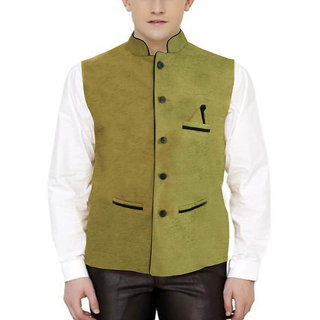 Men's Modi Jacket / Nehru Jacket Check Green color New Fashion Winter Jacket Lowest Price For Party Wear