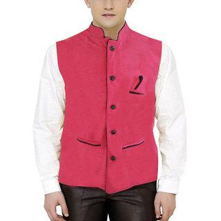 Men's Modi Jacket / Nehru Jacket Check PINK color New Fashion Winter Jacket Lowest Price For Party Wear