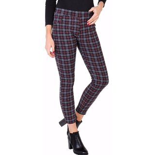 Checked Leggings/women trousers pants/Warm leggings/women fleece leggings