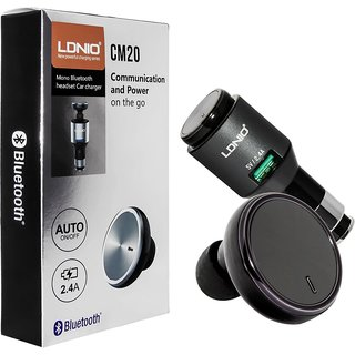 LDNIO CM20 MONO BLUETOOTH HEADSET CAR CHARGER WITH AUTO ON-OFF BUTTON,MULTIPLE POINT CONNECTIVITY, 2.4 USB FAST CHARGING