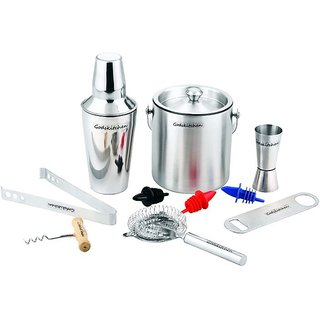 Godskitchen 10-Piece Stainless Steel Wine and Cocktail Bar Set - Bar Kit Includes Essential Barware Tools and Ice Bucket