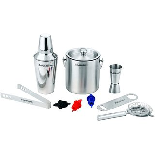 Godskitchen 9-Piece Stainless Steel Wine and Cocktail Bar Set - Bar Kit Includes Essential Barware Tools and Ice Bucket
