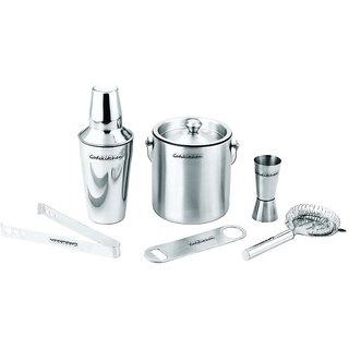 Godskitchen 6-Piece Stainless Steel Wine and Cocktail Bar Set - Bar Kit Includes Essential Barware Tools and Ice Bucket