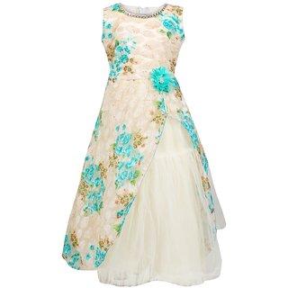 ba437c229ea1 Buy Meia for girls Blue floral printed party wear Net dress Online ...
