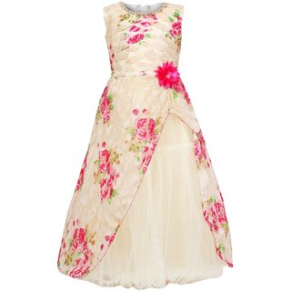 d8bacb38c2b4 Buy Meia for girls Pink floral printed party wear Net dress Online ...