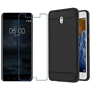 Nokia 3 Back Case Cover Plus Tempered Glass Combo,Nokia 3 Slim Fit Rugged Armor