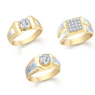 VK Jewels Gold and Rhodium Plated Alloy Rings Combo Set for Men [VKCOMBO1386GA18]