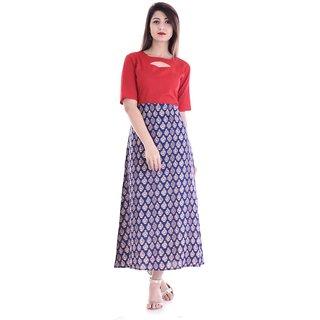 8dbe9aed0 Alobha Rayon Half Sleeves Frock Style Printed Long Kurtas / Kurtis for  Women's