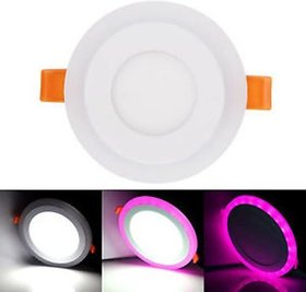Snap Light 6 watt (3+3) LED Round Panel Light Ceiling POP Down Indoor Light LED 3D Effect Lighting (Pink  White)