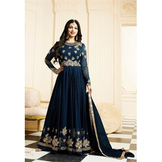Ayesha Takia Georgette Blue Embroidered Semi Stitched Long Anarkali Suit
