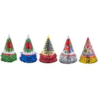 Enjoy Multicolor Christmas Papper Cone Cap (Pack Of 5)