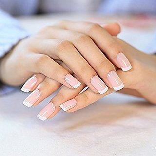 24 Pcs/set French Nails Nail Art Pre-design Acrylic Fake Nail Classical Full Cover Short White Manicure