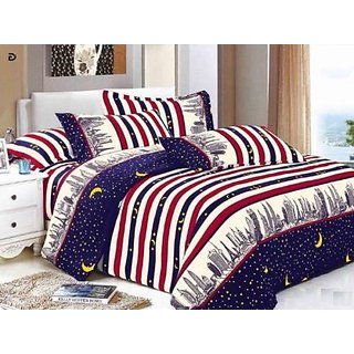 ValueX 3D Print Polly Cotton Double Bed sheet Without Pillow Covers