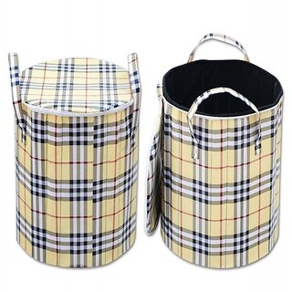 Dreamshome Checkered Fabric Round Foldable Laundry Bag