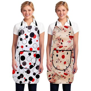 Dreams Home Set of 2 Waterproof PVC Apron With Front Pocket