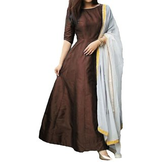 Dwarkesh fashion brown tafeta silk anarkali gown (coffee tamli)