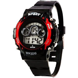 Varni Round Dial Black Silicone Strap Digital Watch for Mens & Boys (7 Light)
