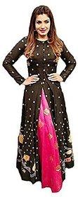 kuldevi fashion raveena tandon black pink salwar suit (Unstitched)