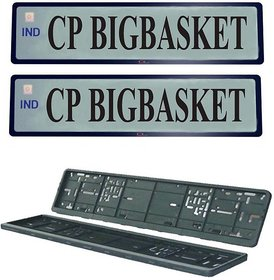 Cp Bigbasket High Security Frame Folding Car Number Plate  (Plastic 54 cm x 15 cm)