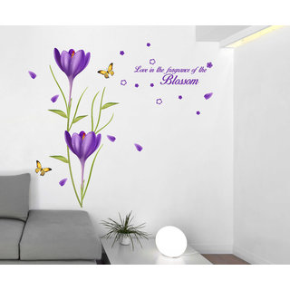Wall Dreams Purple Flowers Blossoms for love Wall Stickers(80cmX150cm)