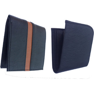 Set of Two Men Casual Black Genuine Leather Wallet