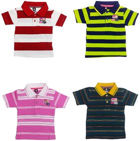 Striped Cotton Polo T-Shirt (Pack of 4) (Rider Blue Bird COCOMONG Series) for Kids