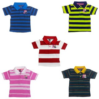 0ec5760a330e Striped Cotton Polo T-Shirt (TucTuc) (Pack of 5) for Kids by ORGFASHION
