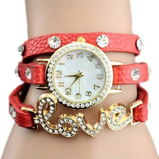 New Red Love Leather Belt Diamound Designing Stylist Looking Analog Watch For Women Girls