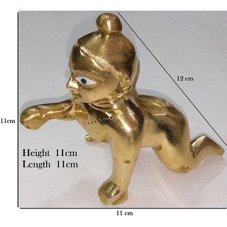 Laddu Gopal / Ladoo Gopal / Bal Gopal / Thakur Ji / Bal Krishna (11cm Height) - Idol ( Pure Brass Material ) with dress