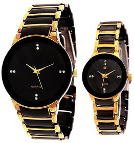New Brand IIK Collection gold and black couple watch