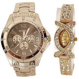 NG Full Gold Combo By ROSRA + X New Stylish Wrist Watches For Couple