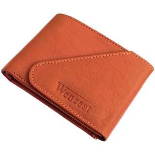wallets for men in tan color artificial leather 3 cards pockets