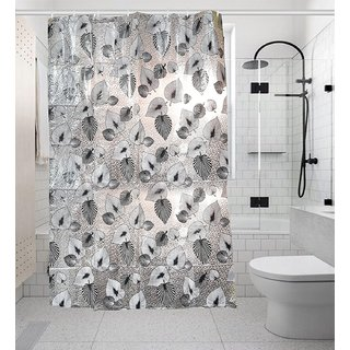Khushi Creation PVC Floral Shower Curtain 52X82 Inches- 8 Hooks