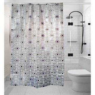 Khushi Creation PVC Floral Shower Curtain 52X82 Inches 8 Hooks