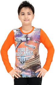 GRAND STITCH Boy's Cotton Polyester Blend Full Sleeves Printed T-Shirt