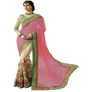 Reeva Trendz Present's New Desinger Peach Color Net & Georgette Fancy Saree