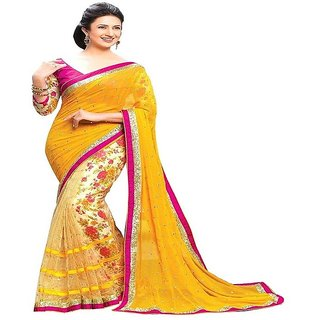 Reeva Trendz Present's New Desinger Yellow Color Georgette & Net Fancy Saree