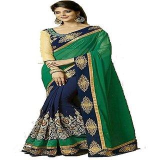 Reeva Trendz Present's New Desinger Green Color Georgette Fancy Saree