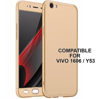 MOBIMON 360 Degree Full Body Protection Front Back Case Cover (iPaky Style) with Tempered Glass for VIVO Y21 (Gold)