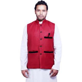 DEPLO Red Cotton Men's Nehru Jacket