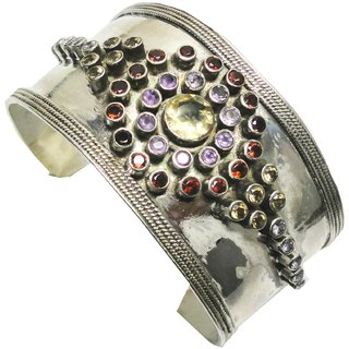 Shoppers Cave Designer Sterling Silver Bracelet Setted With Multi Color Gem Stones
