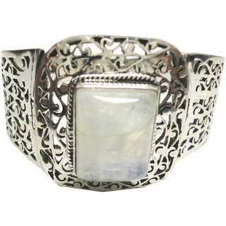 Shoppers Cave Designer Sterling Silver Bracelet Setted With Rainbow Moon Stone