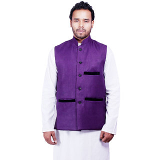 DEPLO Purple Cotton Men's Nehru Jacket